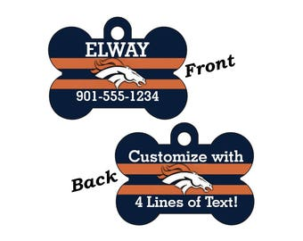 Denver Broncos Double Sided Pet Id Tag for Dogs and Cats Personalized w/ 4 Lines of Text
