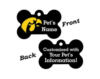 Iowa Hawkeyes Double Sided Pet Id Tag for Dogs and Cats Personalized w/ 4 Lines of Text