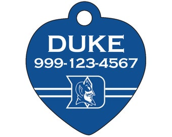 Duke Blue Devils Custom Pet Id Tag for Dogs and Cats Personalized w/ Name & Number