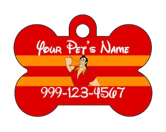 Disney Gaston Custom Pet Id Dog Tag Personalized w/ Your Pet's Name & Number