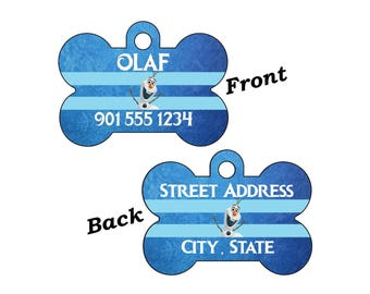Disney Frozen Olaf Double Sided Pet Id Dog Tag Personalized w/ 4 Lines of Text
