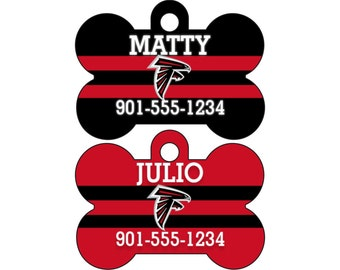 Atlanta Falcons Pet Id Dog Tag Personalized w/ Your Pet's Name and Number