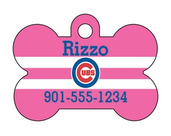 Chicago Cubs Pink Personalized Dog Tag Pet Id Tag w/ Your Pet's Name and Number