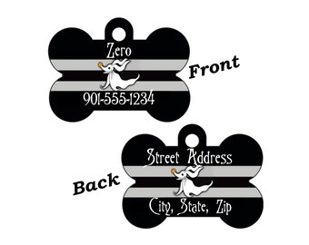 Disney Nightmare Before Christmas Zero Custom Double Sided Pet Id Dog Tag Personalized for your Pet