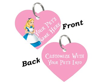 Disney Alice in Wonderland Double Sided Pet Id Tag for Dogs & Cats Personalized for Your Pet