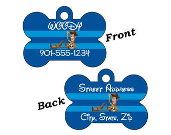 Disney Toy Story Woody Double Sided Pet Id Dog Tag Personalized w/ 4 Lines of Text