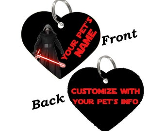 Disney Star Wars Kylo Ren Double Sided Pet Id Tag for Dogs & Cats Personalized for Your Pet