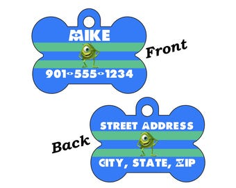 Disney Monsters Inc Mike Wazowski Double Sided Pet Id Dog tag Personalized w/ 4 Lines of Text