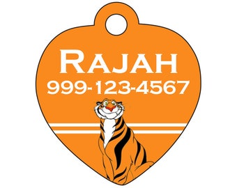 Disney Aladdin Rajah Pet Id Tag for Dogs & Cats Personalized w/ Your Pet's Name and Number
