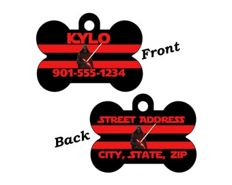 Disney Star Wars Kylo Ren Double Sided Pet Id Dog Tag Personalized for your Pet