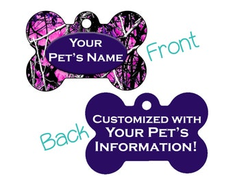 Camo Double Sided Pet Id Dog Tag   Muddy Girl Purple   Personalized for your Pet!