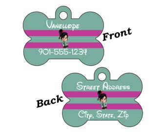 Disney Vanellope Von Schweetz Double Sided Pet Id Dog Tag Personalized w/ 4 Lines of Text