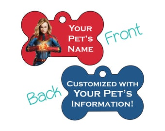 Captain Marvel | Disney Double Sided Pet Id Dog Tag | Personalized for your Pet