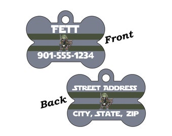 Disney Star Wars Boba Fett Custom Double Sided Pet Id Dog Tag Personalized for your Pet
