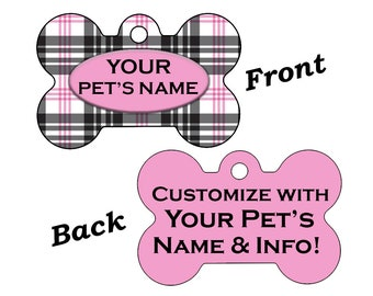 Custom Double Sided Plaid Pet Id Dog Tag Personalized for Your Pet