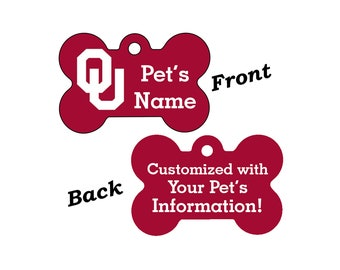 Oklahoms Sooners Double Sided Pet Id Tag for Dogs and Cats Personalized w/ 4 Lines of Text