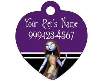 Sally Nightmare Before Christmas Pet Id Tag for Dogs and Cats Personalized w/ Name & Number