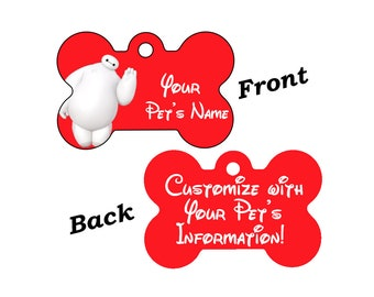 Disney Big Hero 6 Baymax Custom Double Sided Pet Id Dog Tag Personalized for your Pet