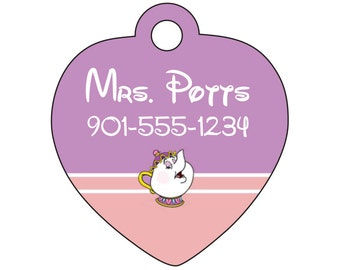 Disney Beauty and The Beast Mrs Potts Pet Id Tag for Dogs & Cats Personalized w/ Name and Number