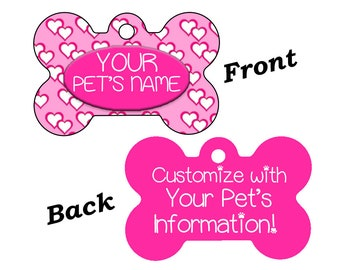 Cute Hearts Custom Double Sided Pet Id Dog Tag Personalized for Your Pet
