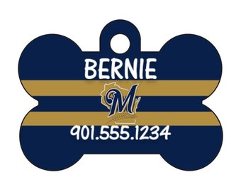 Milwaukee Brewers Pet Id Dog Tag Personalized w/ Your Pet's Name and Number