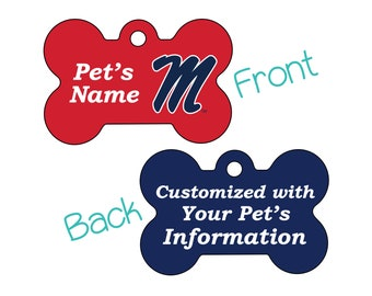 Ole Miss Rebels 2-Sided Pet Id Dog Tag | Officially Licensed | Personalized for Your Pet