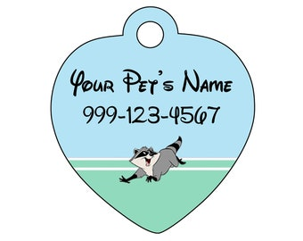 Disney Pocahontas Meeko Pet Id Tag for Dogs & Cats Personalized w/ Your Pet's Name and Number