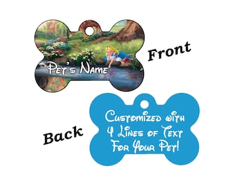 Disney Alice in Wonderland Dream Collection Double Sided Pet Id Tag for Dogs and Cats Personalized w/ 4 Lines of Text
