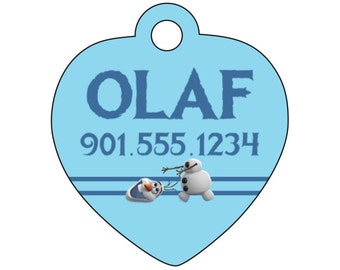 Disney Frozen Olaf Pet Id Tag for Dogs and Cats Personalized w/ Your Pet's Name & Number