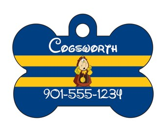 Disney Cogsworth Beauty and the Beast Pet Id Dog Tag Personalized w/ Name & Number
