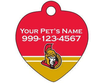 Ottawa Senators Pet Id Tag for Dogs & Cats | Personalized for Your Pet | Fits all Dogs and Cats!