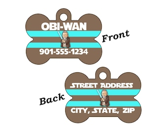 Disney Star Wars Obi-Wan Kenobi Double Sided Pet Id Dog Tag Personalized for your Pet