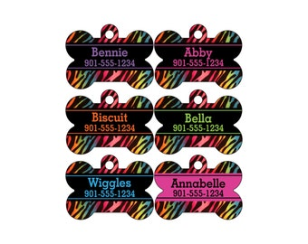 Rainbow Animal Print Dog Tag Pet ID Tag Personalized w/ Your Pet's Name & Number, Zebra Print