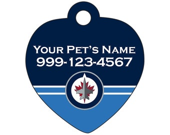 Winnipeg Jets Pet Id Tag for Dogs & Cats | Personalized for Your Pet | Fits all Dogs and Cats!