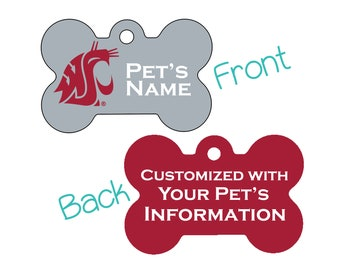 Washington State Cougars 2-Sided Pet Id Dog Tag | Officially Licensed | Personalized for Your Pet