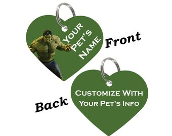 The Hulk Double Sided Pet Id Tag for Dogs & Cats Personalized for Your Pet