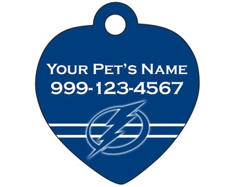 Tampa Bay Lightning Pet Id Tag for Dogs & Cats | Personalized for Your Pet | Fits all Dogs and Cats!
