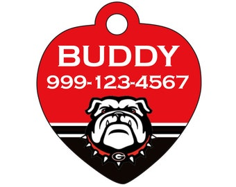 Georgia Bulldogs Custom Pet Id Tag for Dogs and Cats Personalized w/ Name & Number