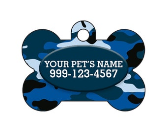 Fashionable Cute Blue Camo Pet Id Dog Tag Personalized for Your Pet