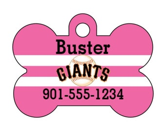 San Francisco Giants Pink Dog Tag Pet Id Tag Personalized w/ Name, Number