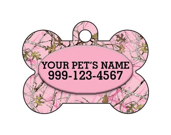 Fashionable Cute Pink Realtree Outdoor Camo Pet Id Dog Tag Personalized for Your Pet