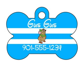 Disney Cinderella Gus Gus Pet Id Dog Tag Personalized w/ Your Pet's Name & Number