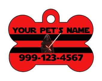 Disney Star Wars Kylo Ren Custom Pet Id Dog Tag Personalized w/ Your Pet's Name and Number