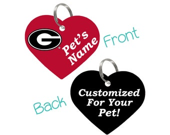 Georgia Bulldogs Double Sided Pet Id Tag for Dogs & Cats | Officially Licensed | Personalized for Your Pet