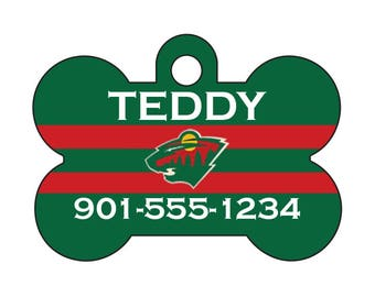 Minnesota Wild Pet Id Tag for Dogs and Cats Personalized w/ Your Pet's Name & Number