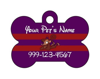 Disney Aladdin Abu Pet Id Dog Tag Personalized w/ Your Pet's Name and Number