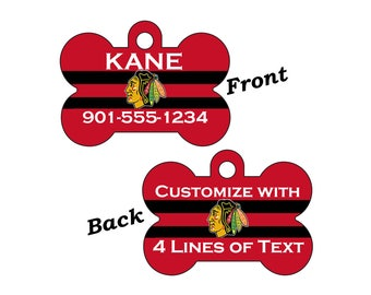 Chicago Blackhawks Double Sided Pet Id Tag for Dogs and Cats Personalized w/ 4 lines of text