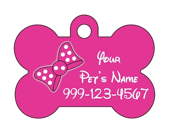 Cute Minnie Pink Bow Pet Id Dog Tag Personalized w/ Your Pet's Name & Number