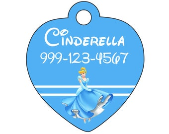 Disney Princess Cinderella Pet Id Tag for Dogs and Cats Personalized w/ Name & Number