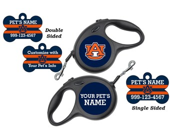 Auburn Tigers Pet Id Dog Tags & Retractable Leash Personalized for Your Pet